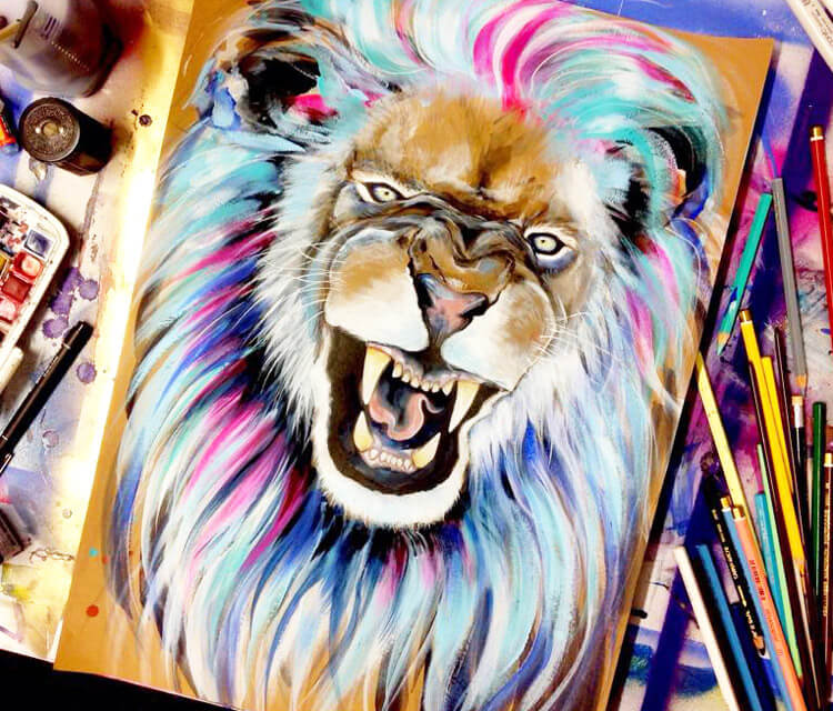 Pixie Lion watercolor painting by Pixie Cold