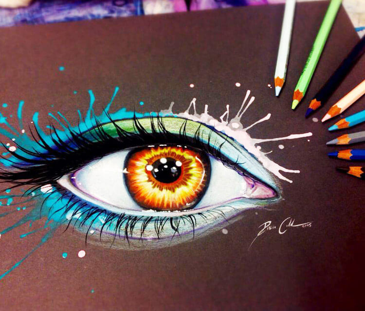 Rainbow lights Eye color drawing by Pixie Cold
