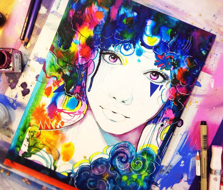 Rue in Heaven watercolor painting by Pixie Cold