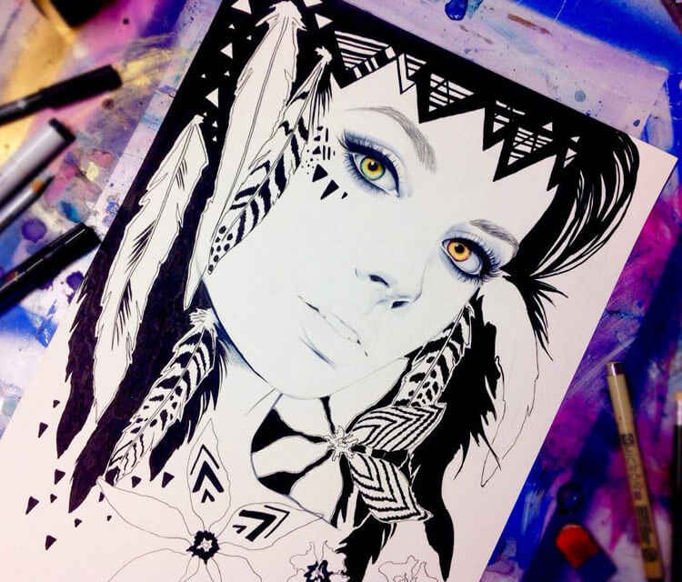Squaw in progress marker drawing by Pixie Cold