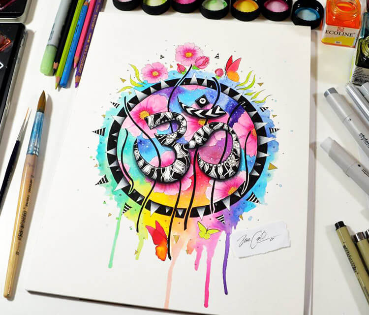 The Om symbol watercolor painting by Pixie Cold
