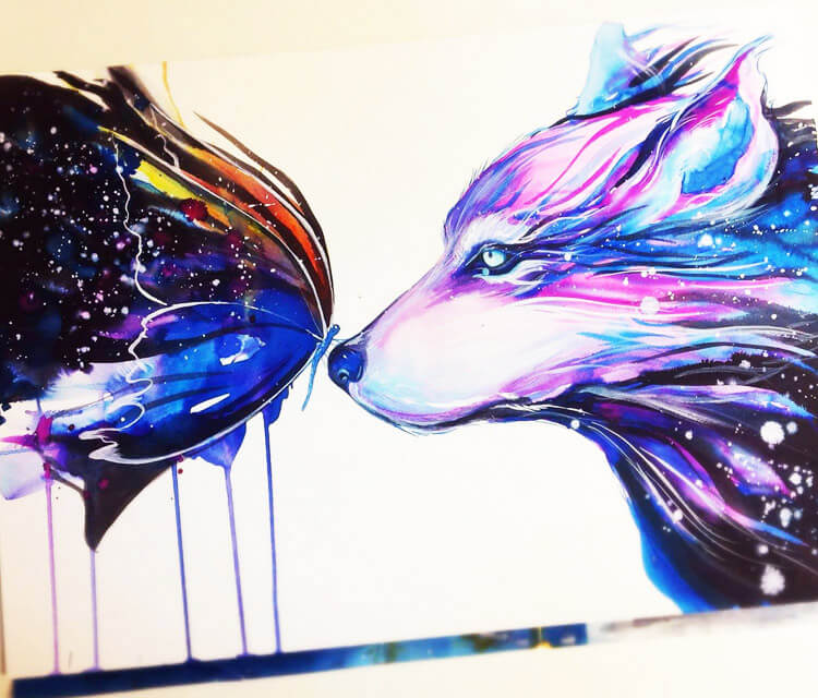 Two galaxies watercolor painting by Pixie Cold