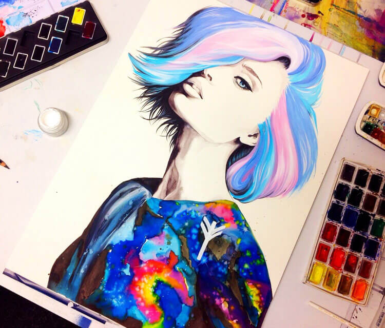 Universe watercolor painting by Pixie Cold