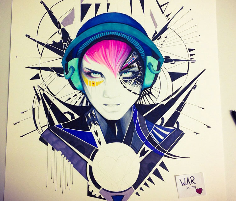 War in my Heart marker drawing by Pixie Cold