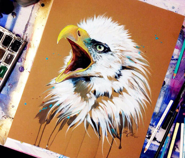 White Eagle color drawing by Pixie Cold