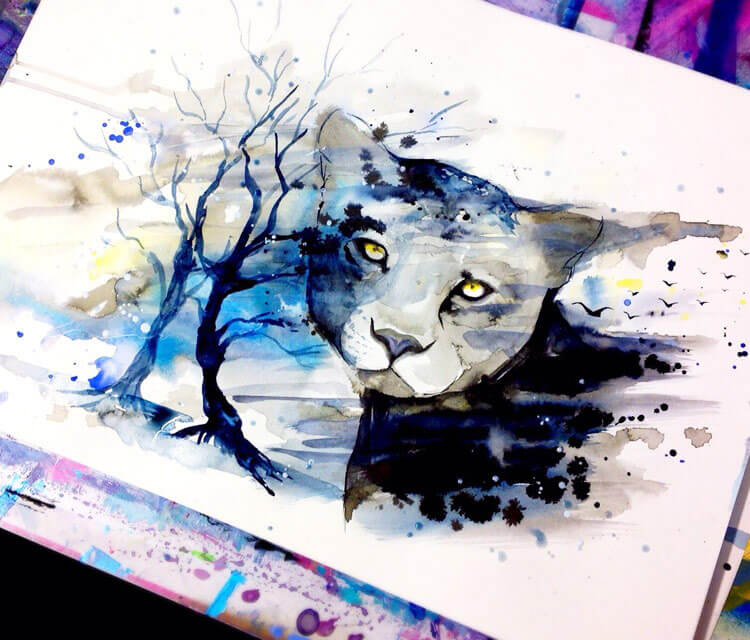 Wildlife watercolor painting by Pixie Cold