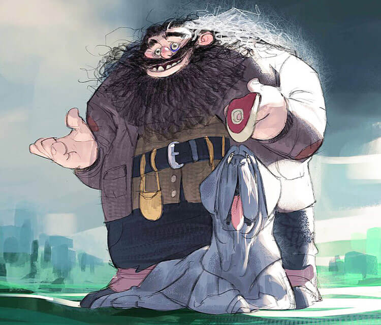 Hagrid and Fang digitalart by Ramon Nunez