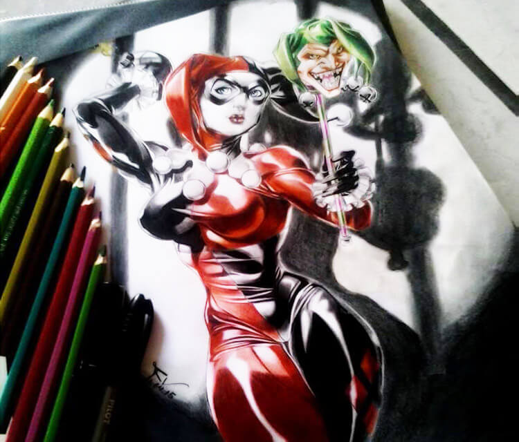 Harlequin color drawing by Roberto Vieira