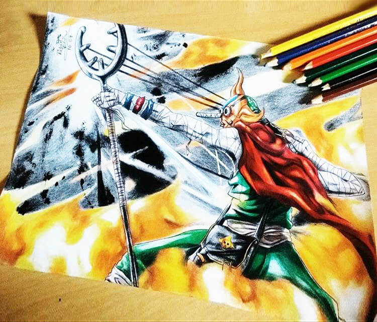 Sogeking color drawing by Roberto Vieira