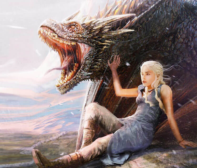 Daenerys and Drogon drawing by Rudy Nurdiawan