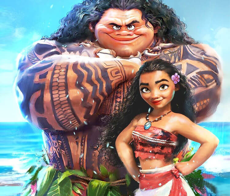 Moana and Maui drawing by Rudy Nurdiawan