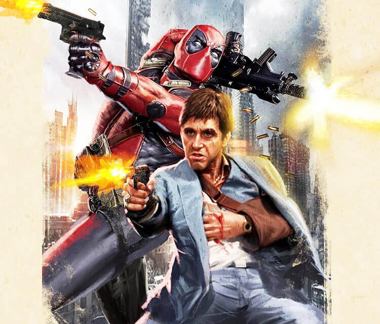 Scarface and Deadpool drawing by Rudy Nurdiawan