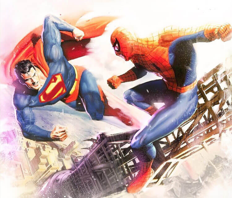 Spiderman vs Superman drawing by Rudy Nurdiawan