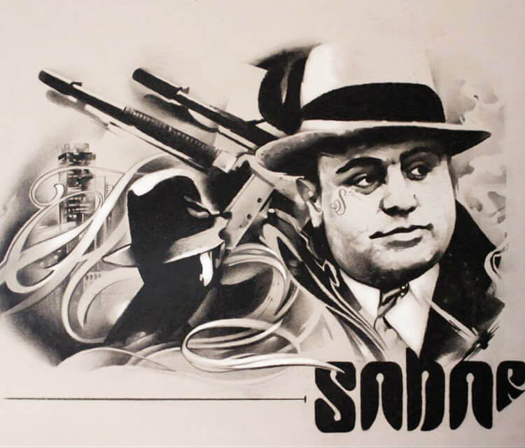 Al Capone marker drawing by Sergey Shanko