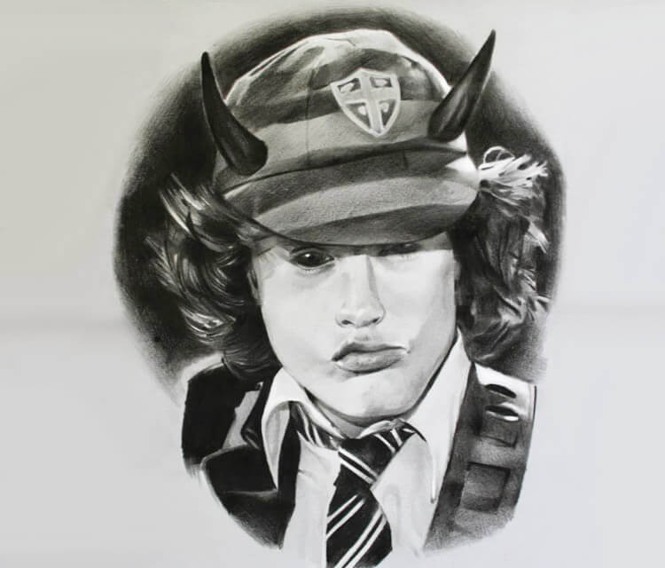 Angus Young drawing by Sergey Shanko