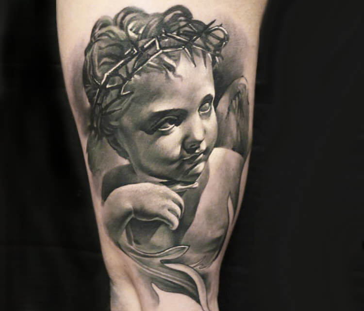 Baby Angel Tattoo By Sergey Shanko
