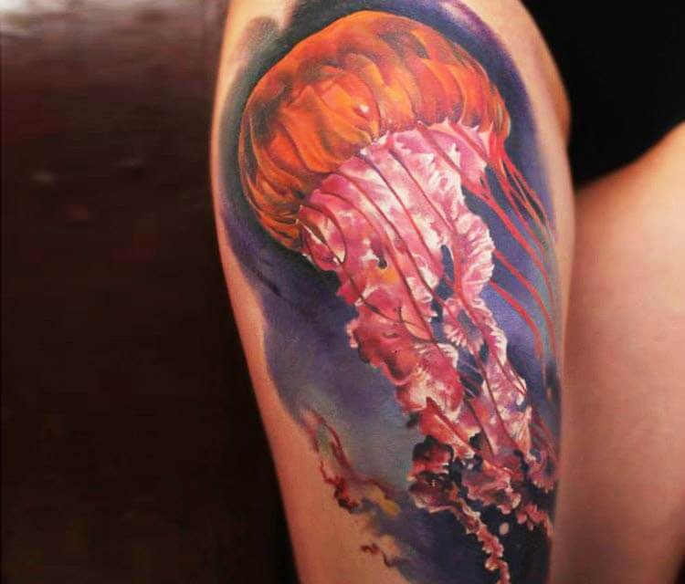Cnidarian tattoo by Sergey Shanko