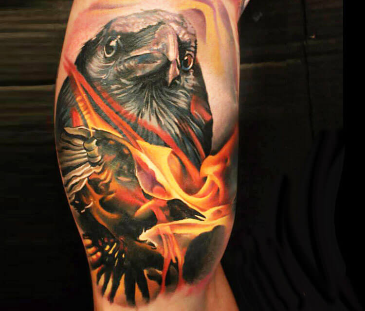 Crow tattoo by Sergey Shanko