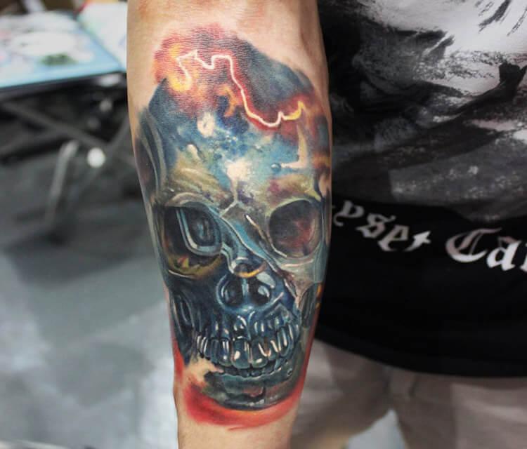 Dark Skull tattoo by Sergey Shanko