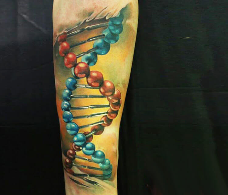 DNA tattoo by Sergey Shanko