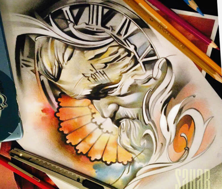 Faith 1 color drawing by Sergey Shanko