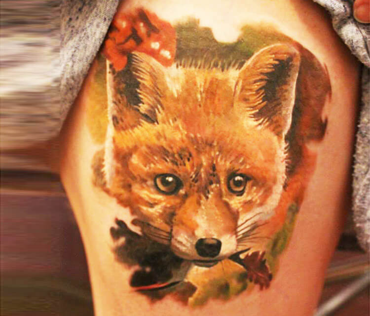 Fox tattoo by Sergey Shanko