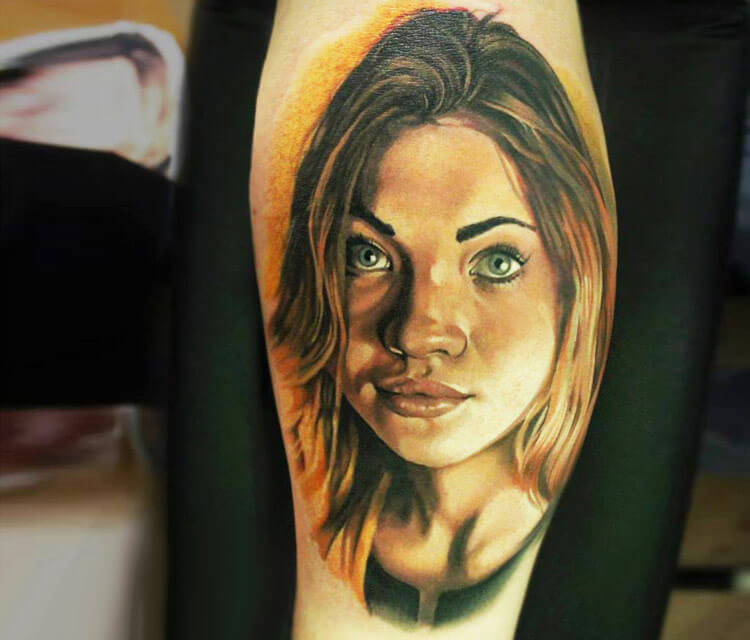 Girl portrait tattoo by Sergey Shanko