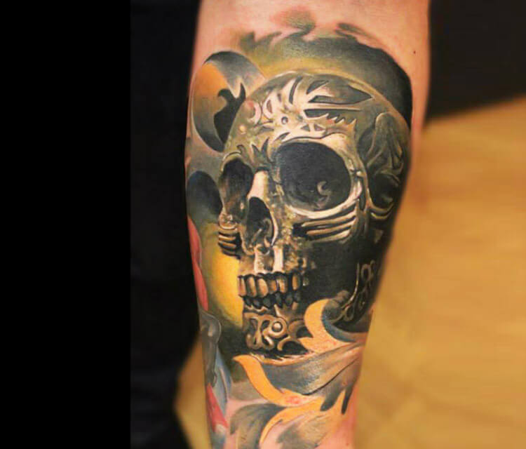 Green Skull tattoo by Sergey Shanko