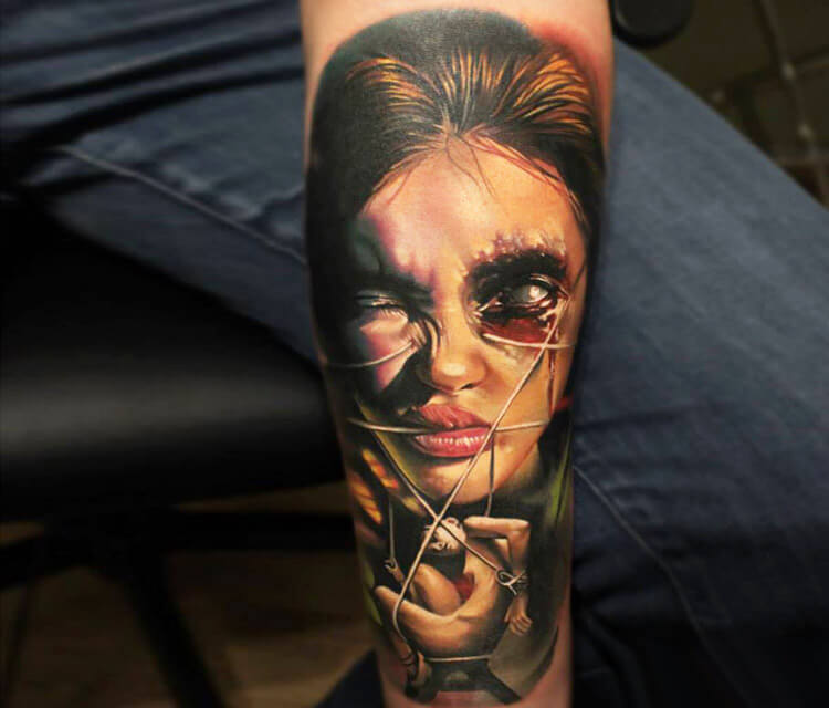 Horror face 3 tattoo by Sergey Shanko