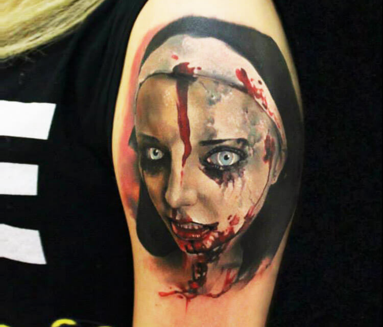 Horror Nun tattoo by Sergey Shanko