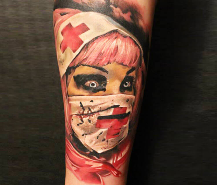 Horror Nurse tattoo by Sergey Shanko