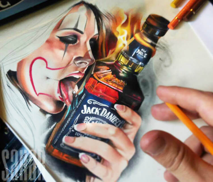 Jack Daniels color drawing by Sergey Shanko