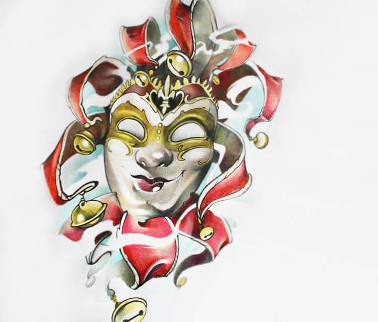 Joker card color drawing by Sergey Shanko