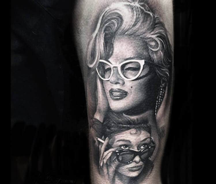 Marilyn Monroe with glasses tattoo by Sergey Shanko