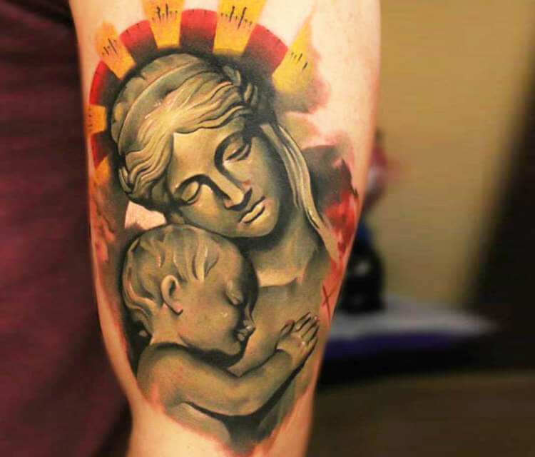 Motherly love tattoo by Sergey Shanko