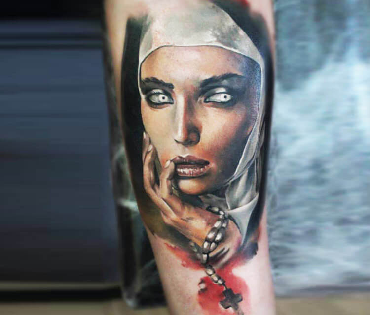 Nun Face tattoo by Sergey Shanko