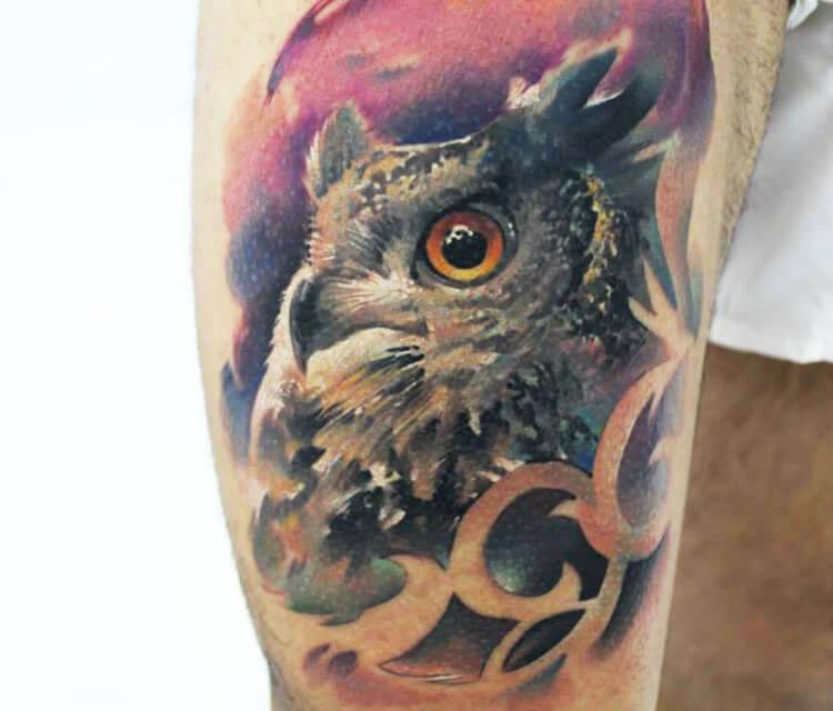 Owl 1 tattoo by Sergey Shanko