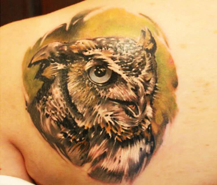 Owl 2 tattoo by Sergey Shanko