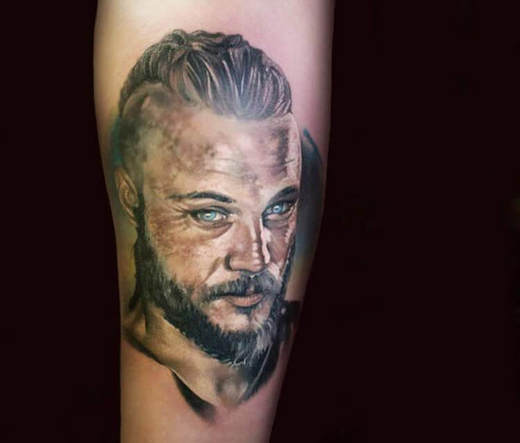 Ragnar tattoo by Sergey Shanko
