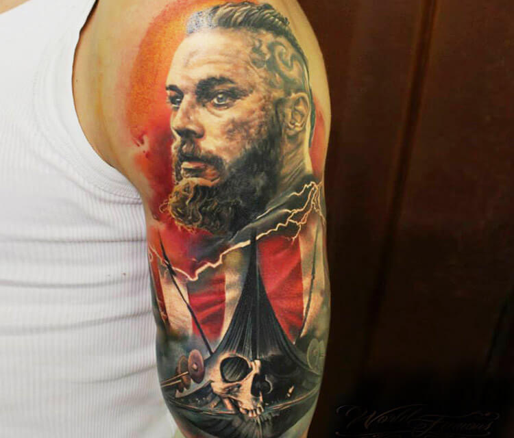 ragnar and ship tattoo by Sergey Shanko