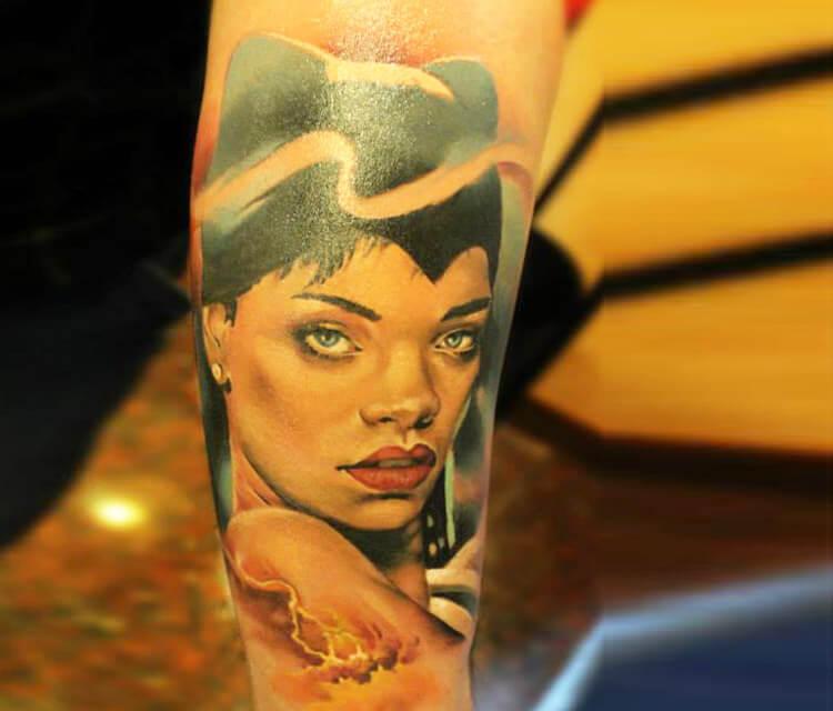Rihanna  tattoo by Sergey Shanko