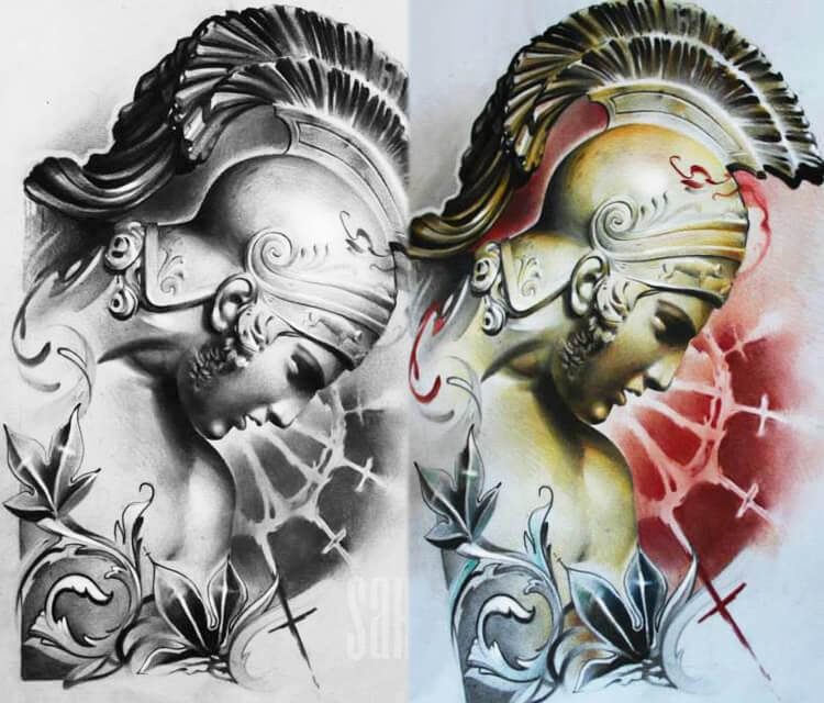 Roman Legionary detai color drawing by Sergey Shanko