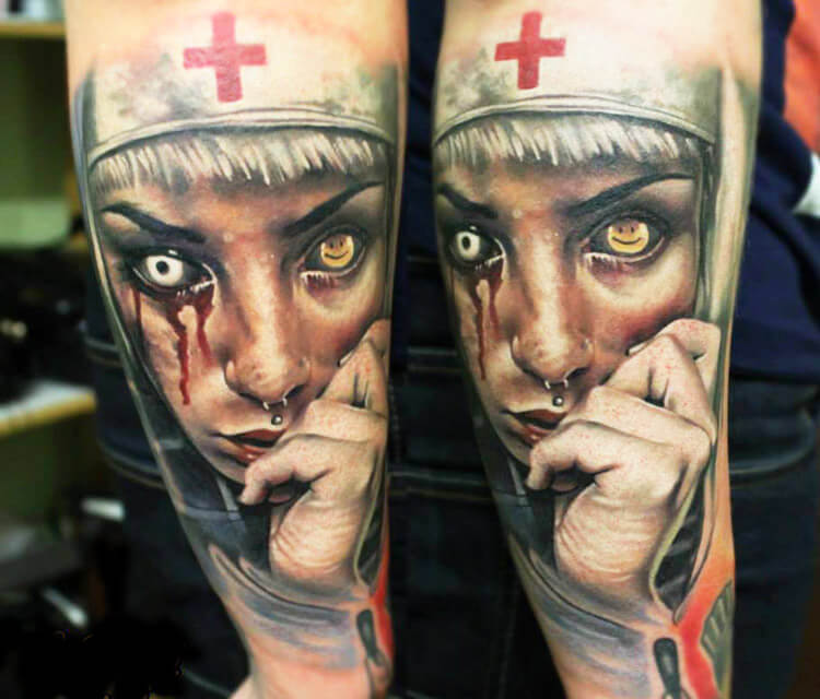 Scary Nun tattoo by Sergey Shanko