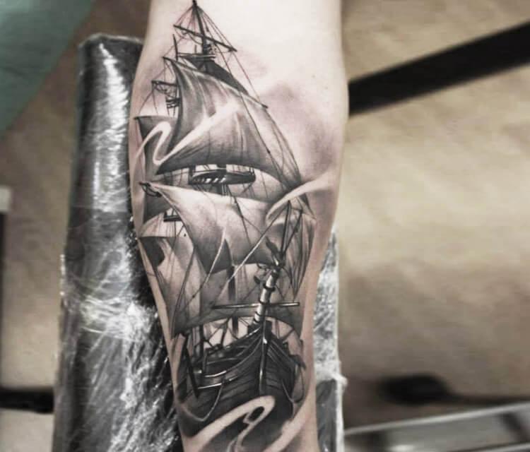 Ship tattoo by Sergey Shanko