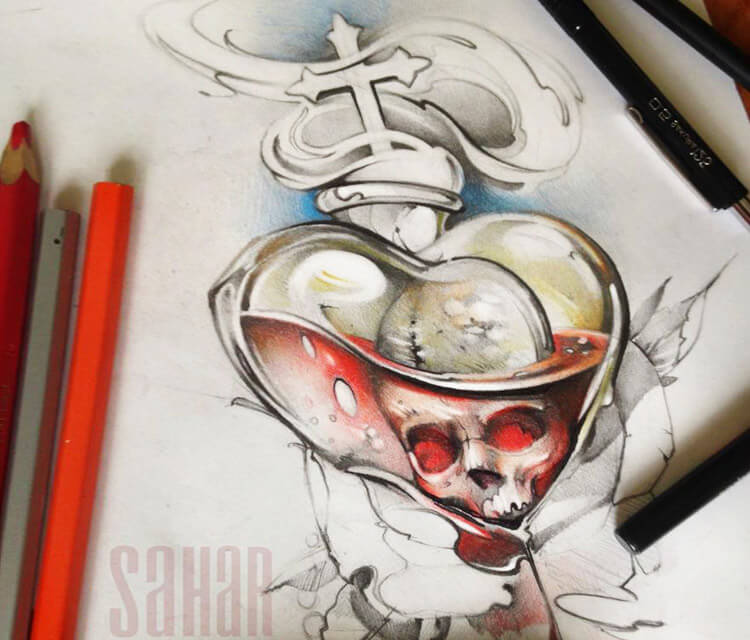 Skull Card Design sketch drawing by Sergey Shanko