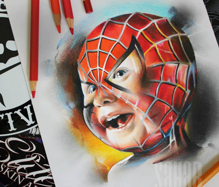 Spiderbaby color drawing by Sergey Shanko