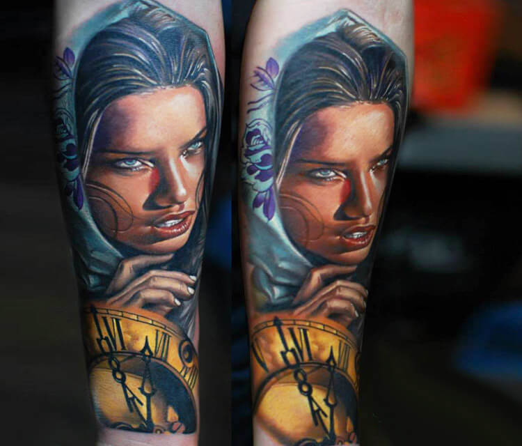 Woman with clocks tattoo by Sergey Shanko
