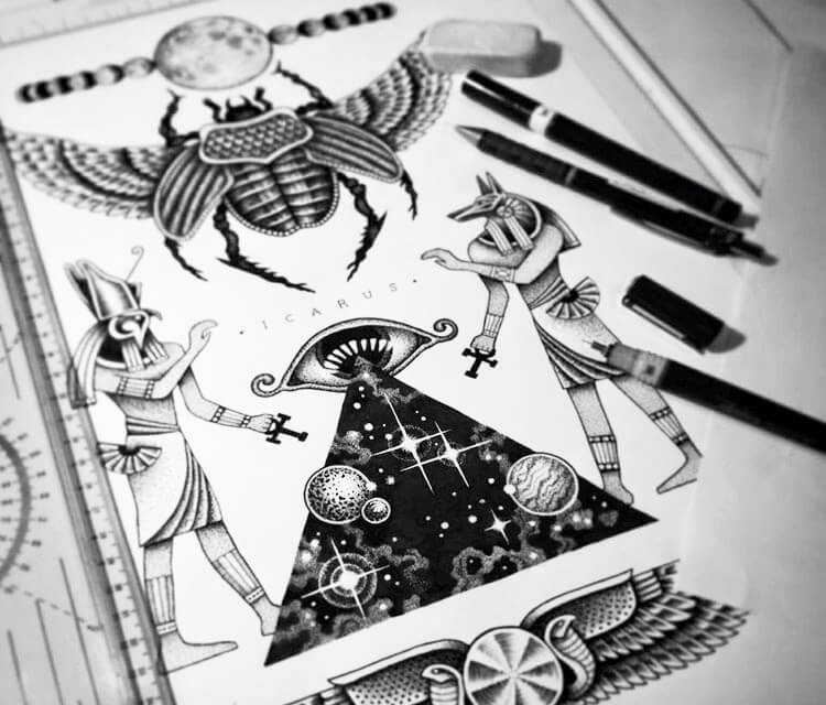 Ancient Egypt vibes marker drawing by Sneaky Studios