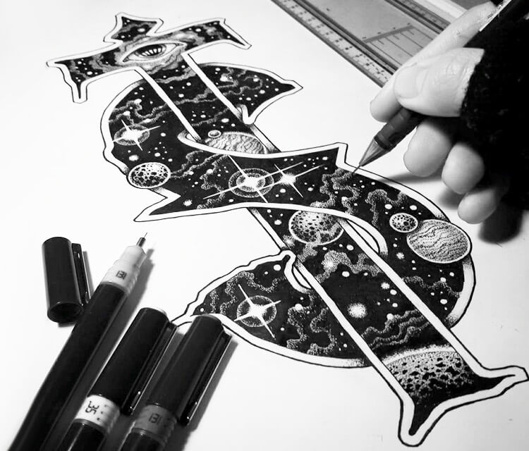 Cosmic monogram pen drawing by Sneaky Studios