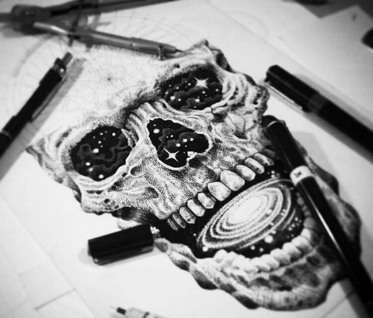 Cosmic Skull pen drawing by Sneaky Studios